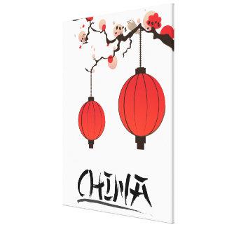 Cópia do poster de viagens das lanternas de China Impressão Em Tela