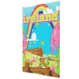 Cópia do viagem dos desenhos animados de Ireland Impressão Em Tela