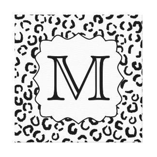 Cópia feita sob encomenda preto e branco do leopar impressão de canvas envolvida