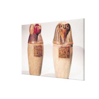 Cópias de dois frascos canopic do reino novo impressão de canvas esticadas