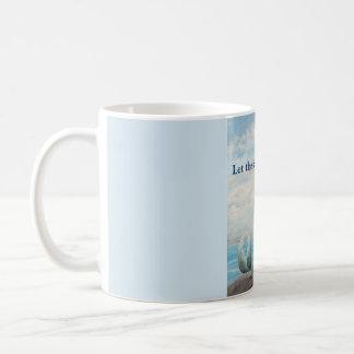 Copo azul da caneca de café da sereia