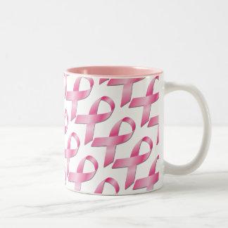 Copo cor-de-rosa da consciência do cancro da mama caneca dois tons
