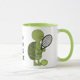 Copo da caneca de café do jogador de ténis do