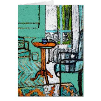 Copo de café azul, estilo de Matisse Cartão Comemorativo