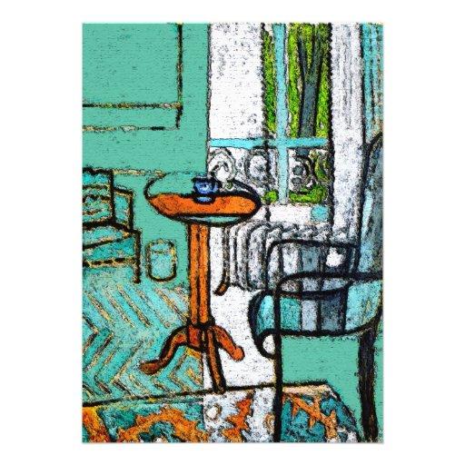 Copo de café azul, estilo de Matisse Convites Personalizado