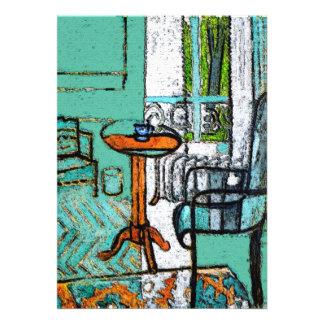 Copo de café azul estilo de Matisse Convites Personalizado
