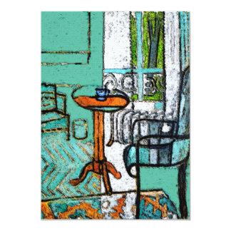Copo de café azul, estilo de Matisse Convite 12.7 X 17.78cm