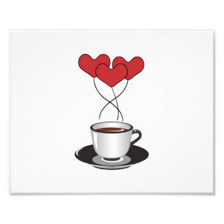Copo de café, balões, corações - preto branco arte de fotos
