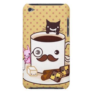 Copo de café bonito do bigode com animais do capa para iPod touch