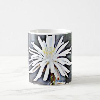 Copo de café clássico da flor branca do cacto caneca de café
