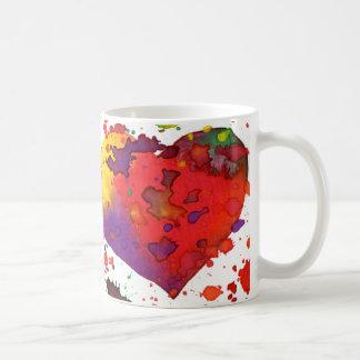 Copo de café, coração da aguarela caneca de café