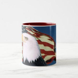 Copo de café da bandeira americana de Eagle Caneca De Café Em Dois Tons
