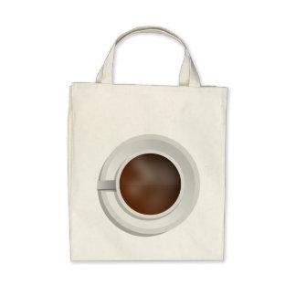 Copo de café da vista aérea bolsa de lona
