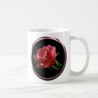 Copo de café dobro da tulipa da flor do primavera caneca de café