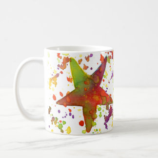 Copo de café, estrelas da aguarela caneca de café