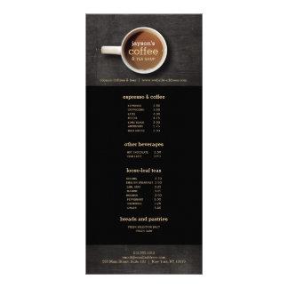 Copo de café no insecto de madeira preto do menu 10.16 x 22.86cm panfleto