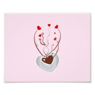 Copo de café, vapor, redemoinhos, corações - foto arte