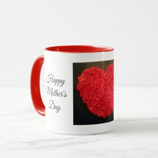 Copo de café vermelho da caneca do coração do