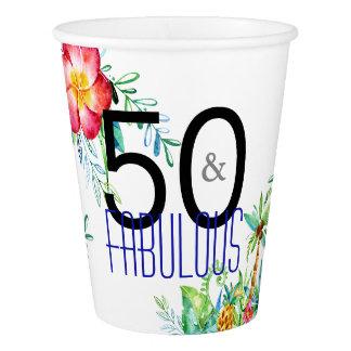 Copo De Papel 50 e festa de aniversário tropical fabulosa da