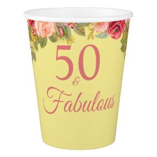 Copo De Papel 50 e rosas cor-de-rosa fabulosos com toques do