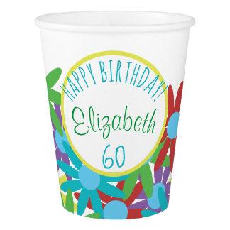 Copo De Papel 60th Floral do aniversário personalizado