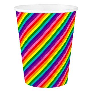 Copo De Papel A bandeira colorida do arco-íris listra o teste