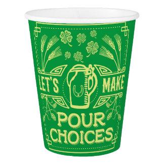 Copo De Papel A cerveja irlandesa do dia engraçado de Patrick de