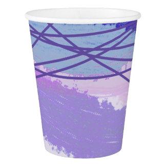 Copo De Papel Aguarela e linhas ultravioletas, azul da lavanda
