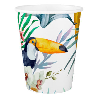 Copo De Papel Aguarela tropical do pássaro do papagaio do