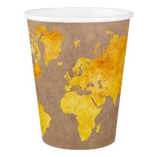 Copo De Papel amarelo do mapa do mundo