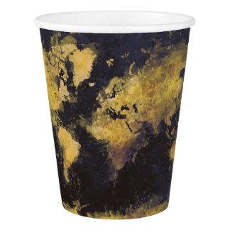 Copo De Papel amarelo preto do mapa do mundo