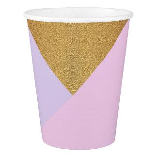 Copo De Papel Ametista roxa Pastel do rosa do Lilac do ouro da