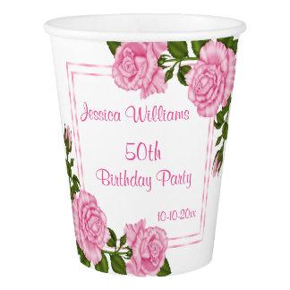Copo De Papel Aniversário dos buquês de canto cor-de-rosa bonito
