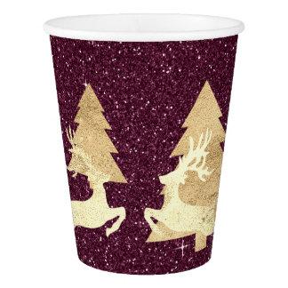 Copo De Papel Árvore Renadeer do brilho de Borgonha do Natal da