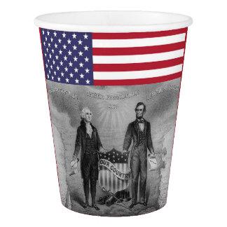 Copo De Papel Bandeira americana de George Washington Abraham