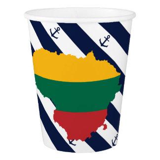 Copo De Papel Bandeira/mapa de Lithuania em fundo listrado