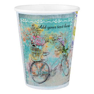 Copo De Papel Bicicleta com as cestas da flor na serapilheira