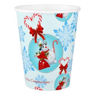 Copo De Papel Boneco de neve do Natal e flocos de neve delicados