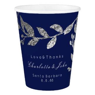 Copo De Papel Branco azul floral nupcial Wedding do marinho das