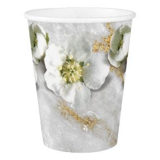 Copo De Papel Branco real da flor da pedra do mármore do ouro
