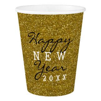 Copo De Papel Brilho do ouro do feliz ano novo