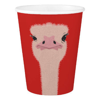Copo De Papel Cara engraçada da avestruz