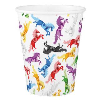 Copo De Papel Cavalos de salto coloridos do teste padrão
