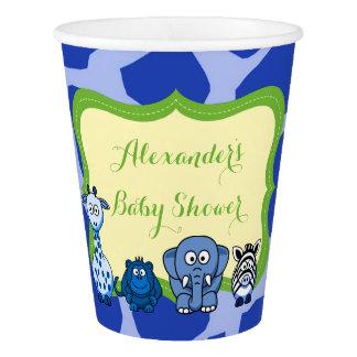 Copo De Papel Chá de fraldas animal azul do menino do safari de
