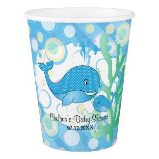 Copo De Papel Chá de fraldas azul da baleia do bebé