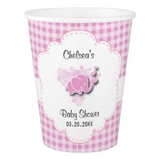 Copo De Papel Chá de fraldas cor-de-rosa & branco da xadrez