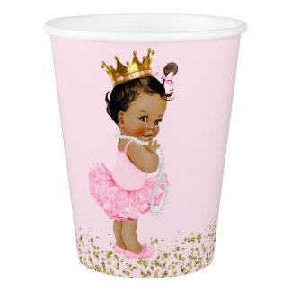 Copo De Papel Chá de fraldas étnico da princesa Cor-de-rosa Ouro