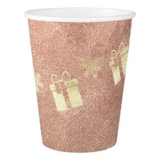 Copo De Papel Cobre cor-de-rosa do ouro do presente do presente
