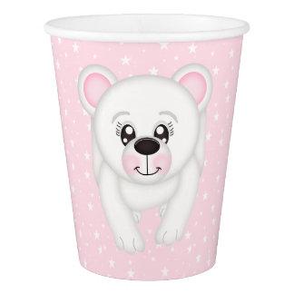 Copo de papel cor-de-rosa de urso polar