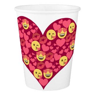Copo De Papel Coração bonito de Emoji dos lábios do beijo do
